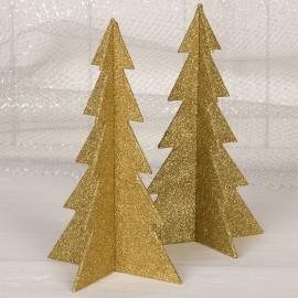 4 Alberi di Natale Dorati 19 cm