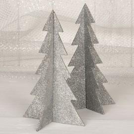 4 Alberi di Natale Argentati 19 cm