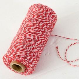 Spago 4 Fili x 200 mt Intrecciato Cotone Rosso e Bianco