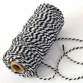 Spago 12 fili x 100 m di Cotone Intrecciato Nero e Bianco