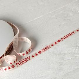 Nastro Cotone Color Avorio con Scritta Rossa Merry Christmas 10mm x 50 mts
