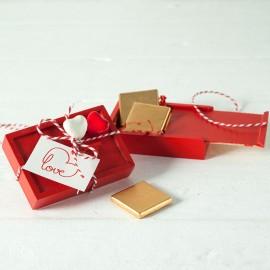 Scatola in Legno 4 Cioccolatini San Valentino Doppio Cuore
