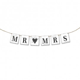 Bandierine Mr & Mrs con Cuore 77 cm