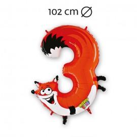 Palloncino Numero 3 Volpe Foil 102 cm