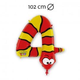 Palloncino Numero 4 Serpente Foil 102 cm