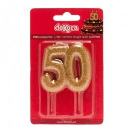 Candela 50 Anniversario Glitterata Oro