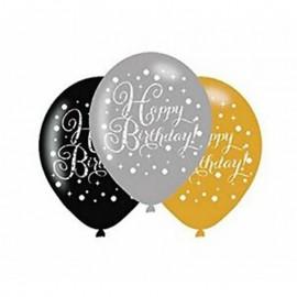 6 Palloncini di Lattice Happy Birthday Elegant Dorati 28 cm