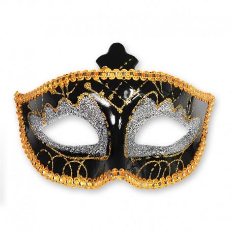 Maschera Nera e Dorata per Feste