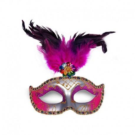 Maschera Rosa e Argento con Piuma per Feste