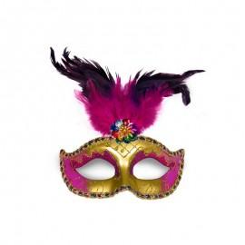 Maschera Dorata e Rosa con Piuma per Feste