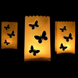 10 Sacchetti Porta Candele Farfalle 26 cm