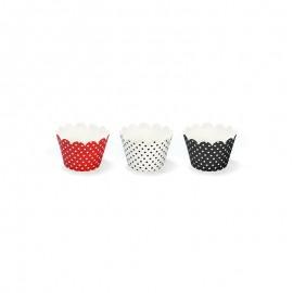 6 Pirottini Cupcacke con Pois 7,5 x 5 cm