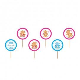 6 Stuzzicadenti con Orsi Rosa e Blu