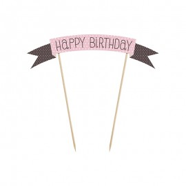 Mini Striscione per Torta con Happy Birthday 19 cm