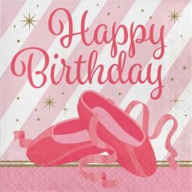 16 Tovaglioli Ballerina Happy Birthday 33 cm