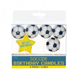 5 Candele forma Pallone Calcio con Stella Happy Birthday