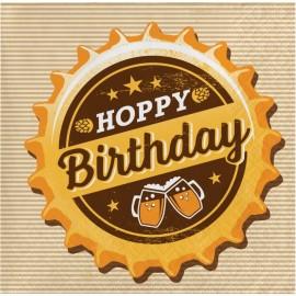 16 Tovaglioli per Festa della Birra Happy Birthday 25 cm