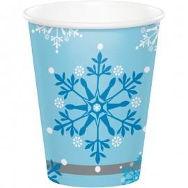 8 Bicchieri con Fiocchi di Neve