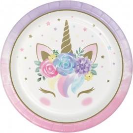 8 Piatti con Unicorno Baby 23 cm