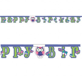 Festone Happy Birthday con Gufo