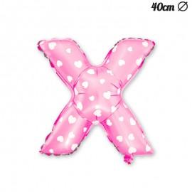 Palloncino Lettera X Foil Rosa con Cuori 40 cm