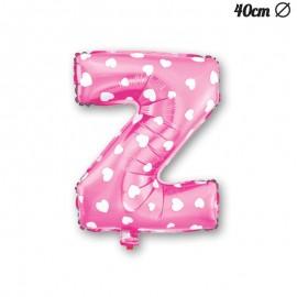 Palloncino Lettera Z Foil Rosa con Cuori 40 cm