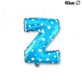 Palloncino Lettera Z Foil Azzurro con Stelle 40 cm