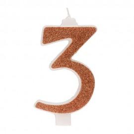 10 Candeline Glitter Numero 3 Oro 13Cm