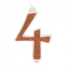 10 Candeline Glitter Numero 4 Oro 13Cm