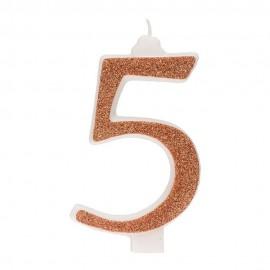 10 Candeline Glitter Numero 5 Oro 13Cm