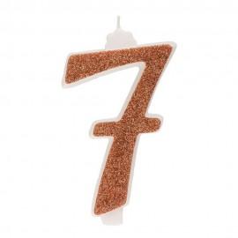 10 Candeline Glitter Numero 7 Oro 13Cm