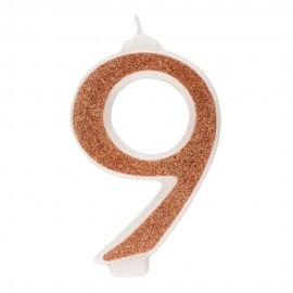 10 Candeline Glitter Numero 9 Oro 13Cm