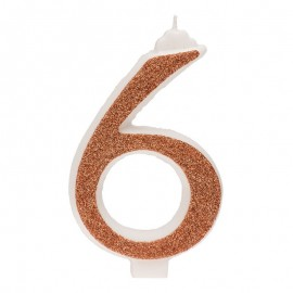 10 Candeline Glitter Numero 6 Oro 13Cm