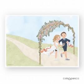 Lastra firme sposi che corrono 29,5 x 42 cm
