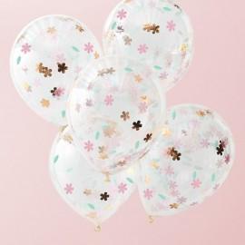 5 Palloncini con Coriandoli a Fiore