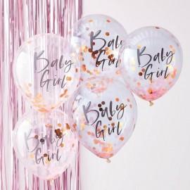 5 Palloncini con Coriandoli Baby Girl
