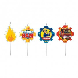 4 Candele Medaglione Sam il Pompiere