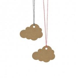 6 Etichette forma Nuvole con Nastro