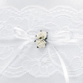 Cuscino per Anelli Bianco in Pizzo