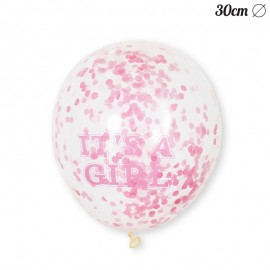 6 Palloncini It's a Girl 30 cm Coriandoli