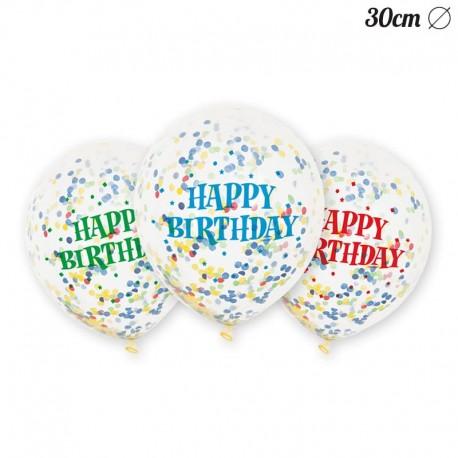 6 Palloncini con Stelle Filanti Happy Birthday 30 cm