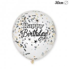 6 Palloncini Happy Birthday Elegante 30 cm