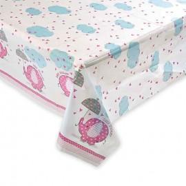 Tovaglia Baby Shower Bambina con Elefante 137 x 213 cm