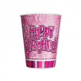 8 Bicchieri Happy Birthday Rosa Glitz