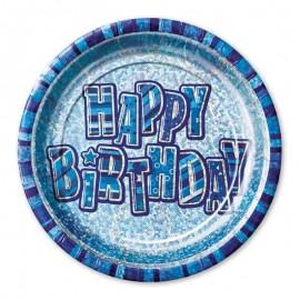 8 Piatti Happy Birthday Blu Glitz 23 cm