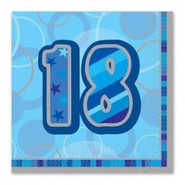 16 Tovaglioli 18 Anni Blu Glitz