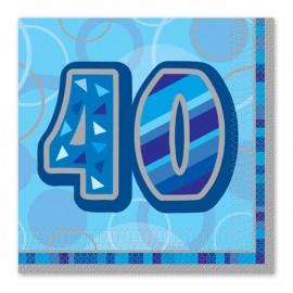 16 Tovaglioli 40 Anni Blu Glitz