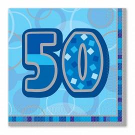 16 Tovaglioli 50 Anni Blu Glitz