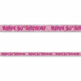 Cartellone Happy Birthday 30 Anni Rosa Glitz