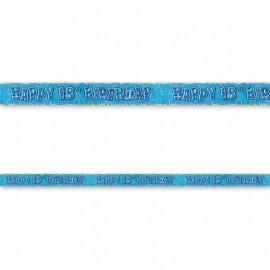 Cartello Happy Birthday 18 Anni Blu Glitz